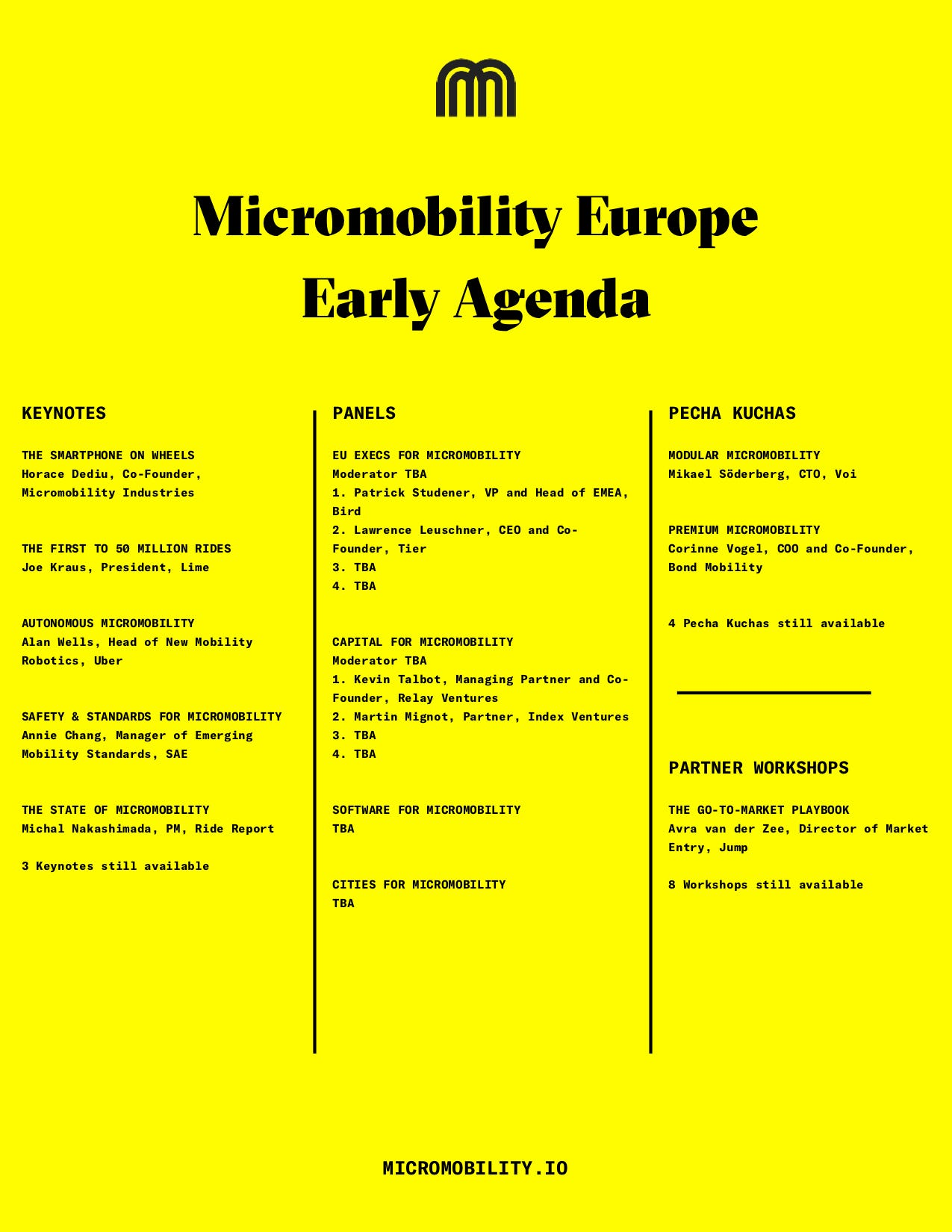 Drumroll please  The agenda for Micromobility Europe is here