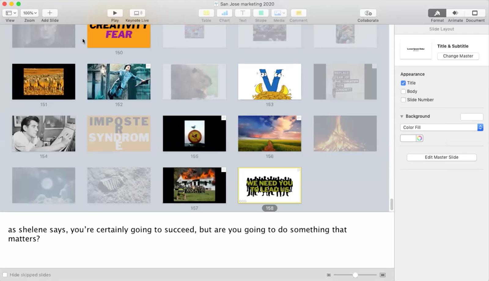 لمحة من حساب سيث غودين على برنامج Keynote