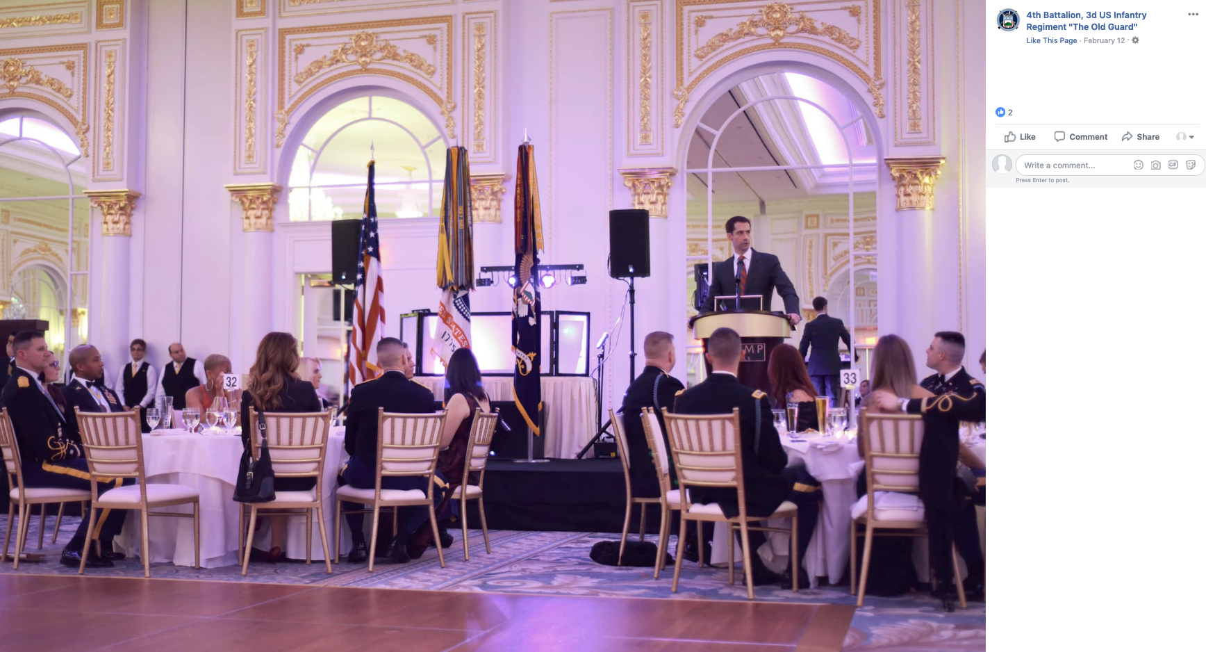 Sen  Cotton was featured guest at Army ball