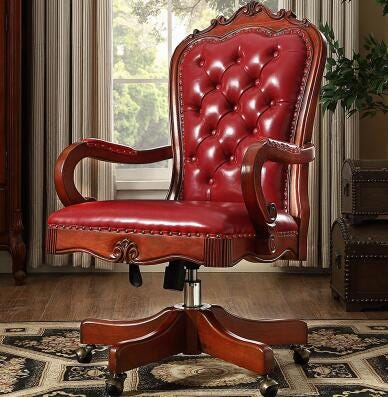 1491437794 Vintage Carved Solid Wood Swivel Chair Boss Chair Leather Office Chair Furniture Office Furniture