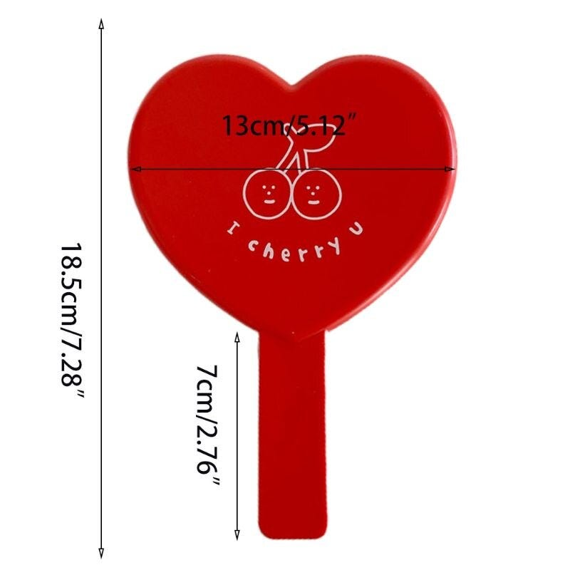 1673530315 Lovely Vintage Heart Shaped Red Handheld Mirror Cartoon Cherry Printed Compact Travel Cosmetic Makeup Tool With Handle Beauty Health Skin Care Tool