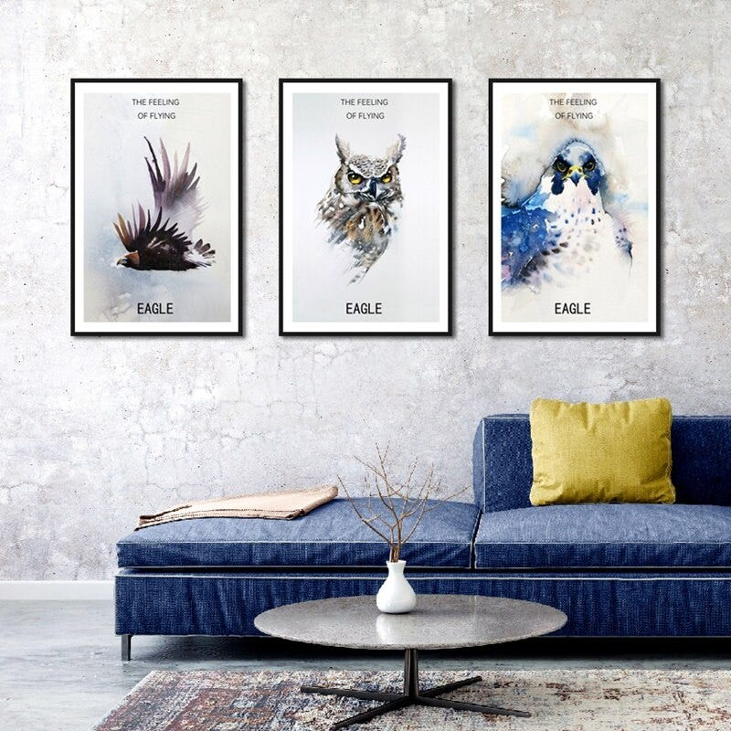 1024735205 Nordic Bird Animal Poster Eagle In The Sky Canvas Wall Art Painting Print Picture Minimalist Living Room Home Decoration Home Garden Home Decor