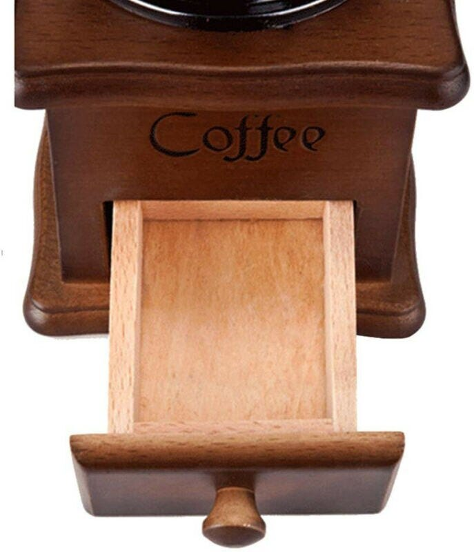 Manual Coffee Bean Grinder Adjustable Coarseness Wooden Hand Held Mill Compact