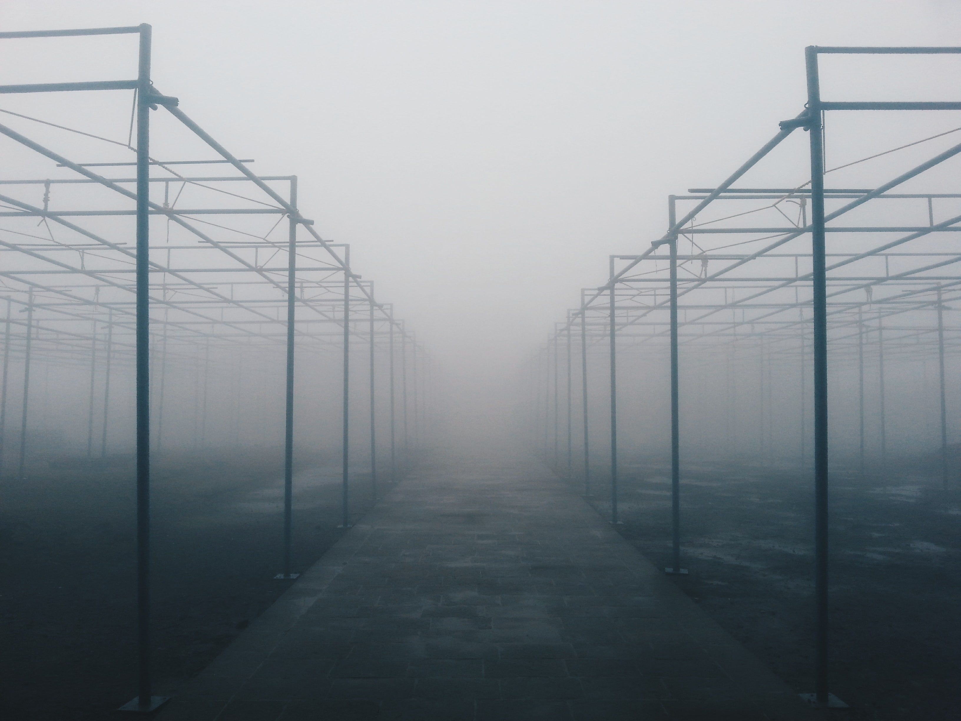 foggy concrete area with tubes