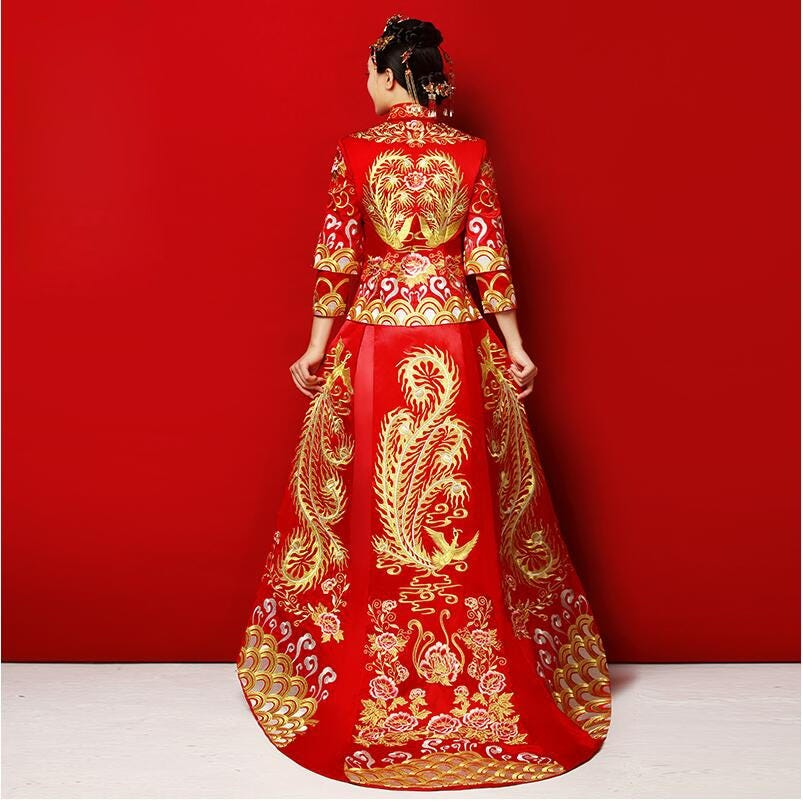 70849151 Long Train Cheongsam Chinese Wedding Dress Qipao Traditional Clothing Top Skirt Suit Set La Robe De Mariage De Style Chinois Novelty Special Use World Apparel,50 Year Old Wedding Dress