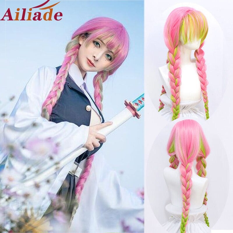 1216394311 Demon Slayer Kanroji Mitsuri Heat Resistant Synthetic Wig Kimetsu No Yaiba Long Pink Mixed Green Braid Hair Free Wig Cap Hair Extensions Wigs Synthetic Hair There are 49 demon slayer wig for sale on etsy, and they cost $54.02 on average. hui s newsletter substack