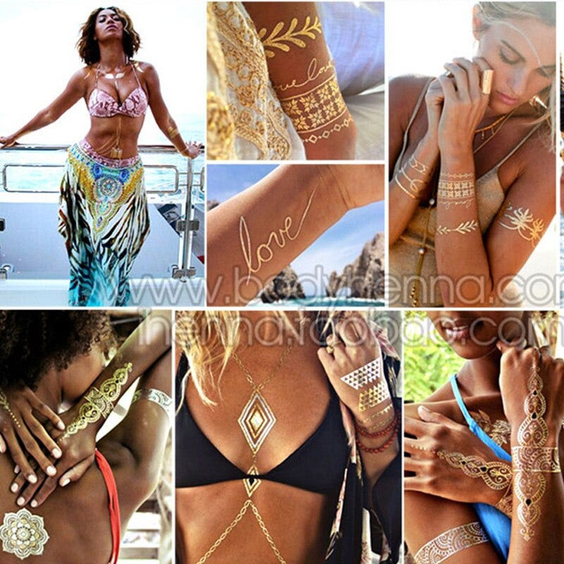 1508430170 Metallic Gold Tattoo Silver Waterproof Temporary Tattoos Stickers On The Body Women Flash Tattoo Stickers Men Beauty Health Tattoo Body Art