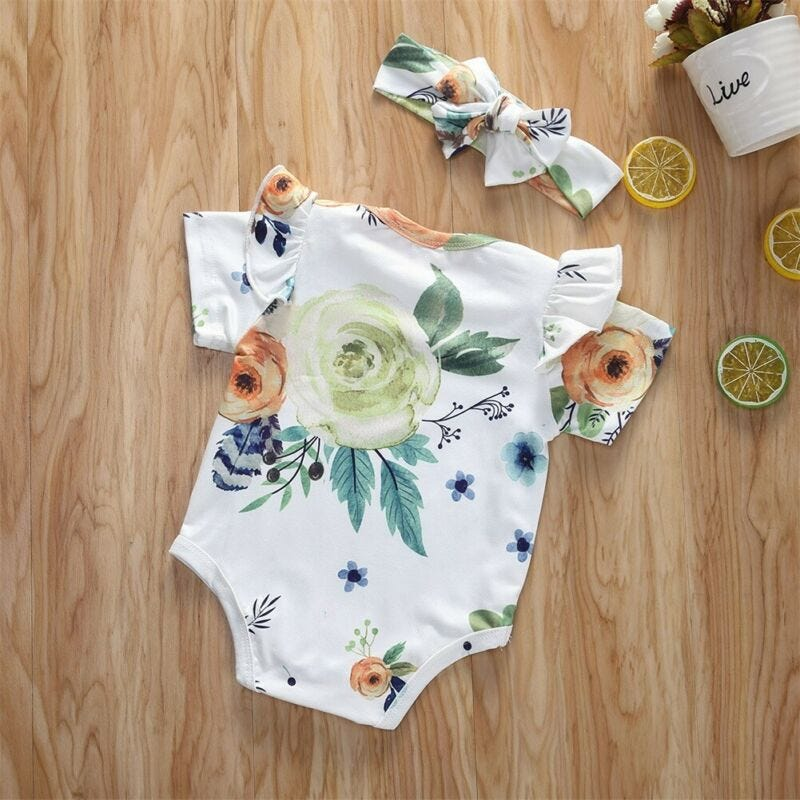 Newborn Baby Kids Girls Floral Romper Jumpsuit Skirts Dress Clothes Set Outfit