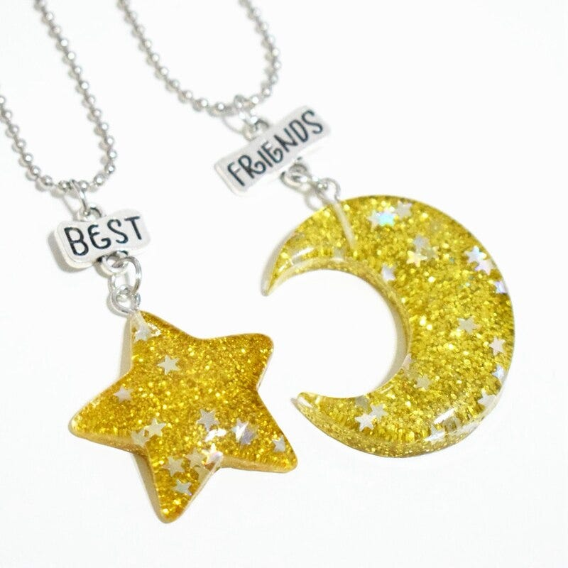 CHILDRENS NECKLACE,S WITH BEST FRIENDS WITH YELLOW STARS