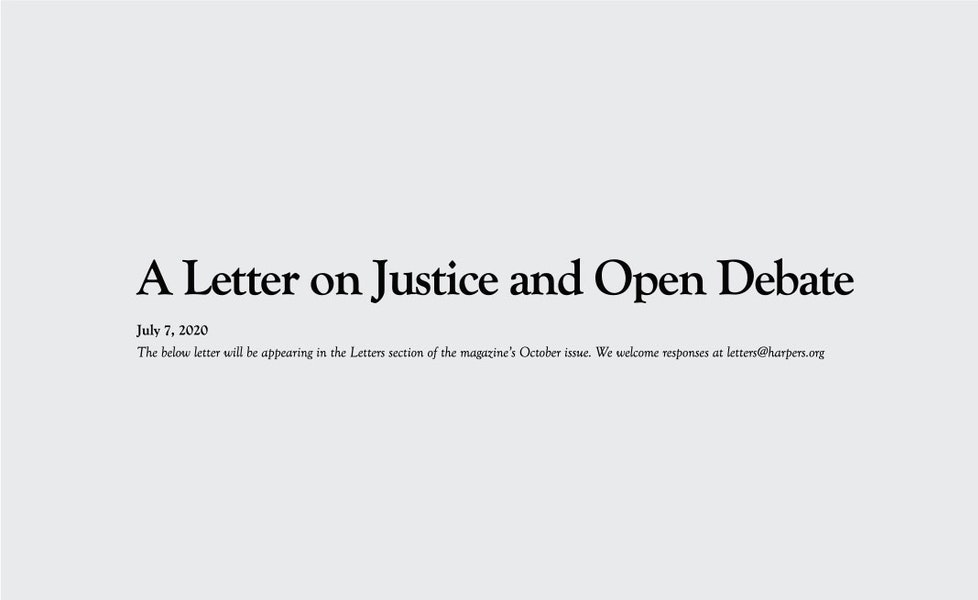 A More Specific Letter on Justice and Open Debate