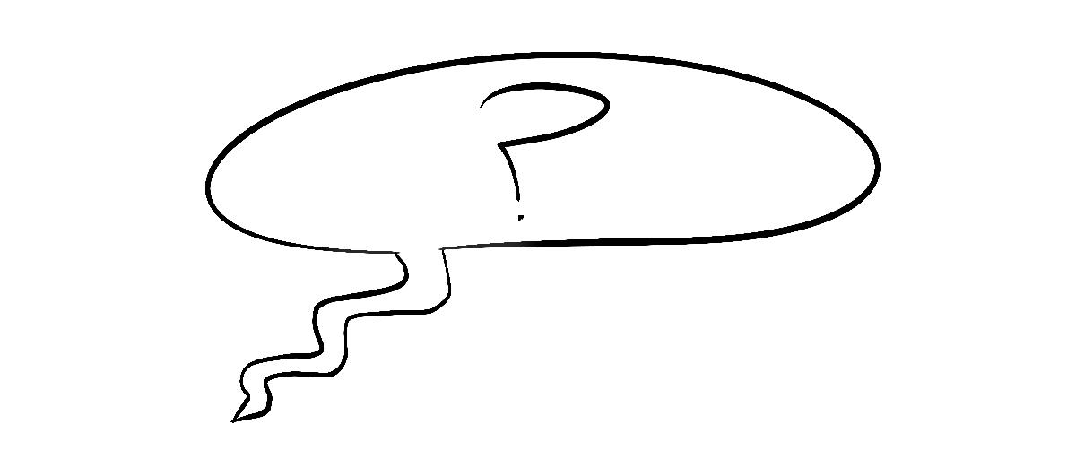 drawn question mark in speech bubble