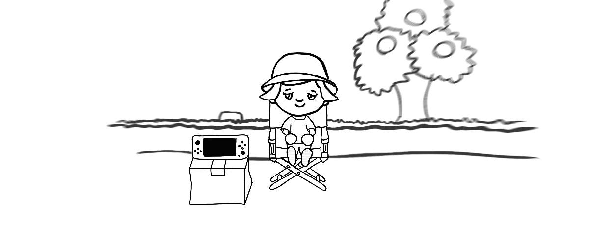 drawn animal crossing scene