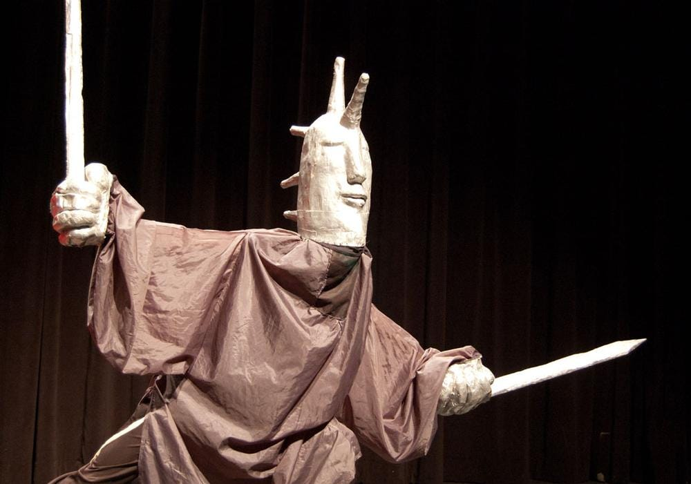 "The Great Warrior from Bread and Puppet Theater's revival of its 1962 anti-war show ""King Story"" at Boston College. (Greg Cook)"