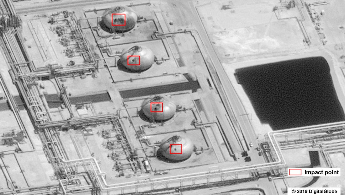 This image provided on Sunday, Sept. 15, 2019, by the U.S. government and DigitalGlobe and annotated by the source, shows damage to the infrastructure at Saudi Aramco's Abaqaiq oil processing facility in Buqyaq, Saudi Arabia. The drone attack Saturday on Saudi Arabia's Abqaiq plant and its Khurais oil field led to the interruption of an estimated 5.7 million barrels of the kingdom's crude oil production per day, equivalent to more than 5% of the world's daily supply. (U.S. government/Digital Globe via AP)