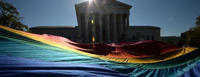 The U.S. Supreme Court will weigh a trio of LGBT workplace discrimination controversies. MLADEN ANTONOV/AFP/Getty Images
