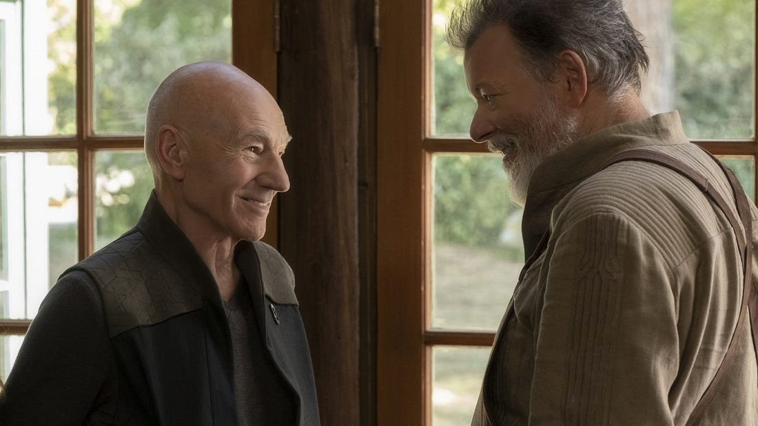 Patrick Stewart and Jonathan Frakes in the forthcoming CBS All Access Star Trek universe series Picard.