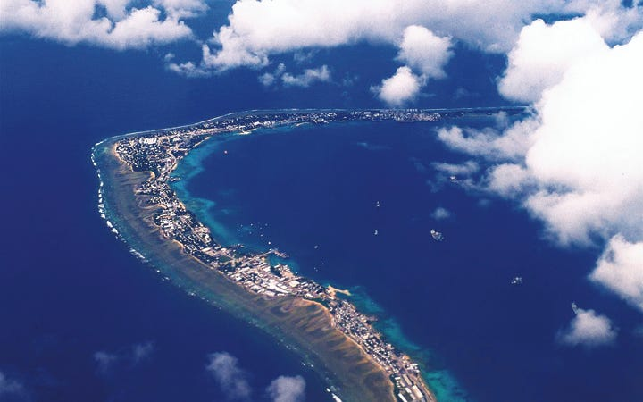 Majuro Atoll which houses more than half of the Marshall Islands population