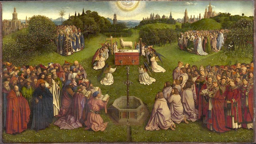 Image result for van eyck adoration of the lamb