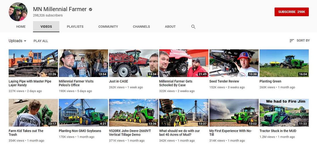 MN Millennial Farmer's Youtube channel