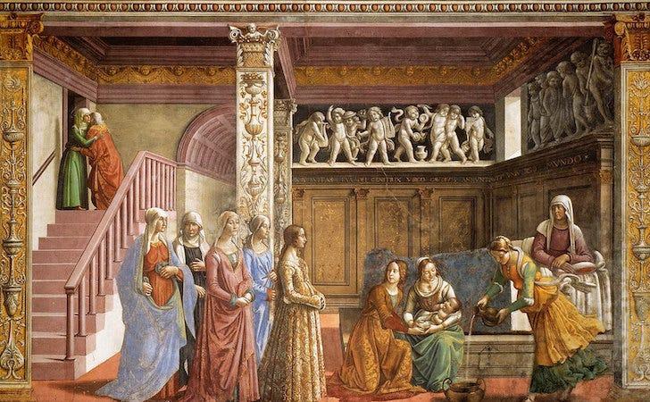 Domenico Ghirlandaio, Birth of the Virgin,fresco, 24 feet 4 inches x 14 feet 9 inches, c. 1485-90 (Cappella Maggiore,Santa Maria Novella, Florence)