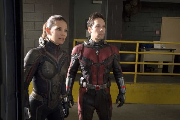 "Rudd with Evangeline Lilly in the Marvel movie ""Ant-Man and the Wasp,"" which Rudd helped write."
