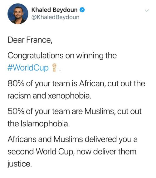 Image result for france tweet world cup Khaled Beydoun