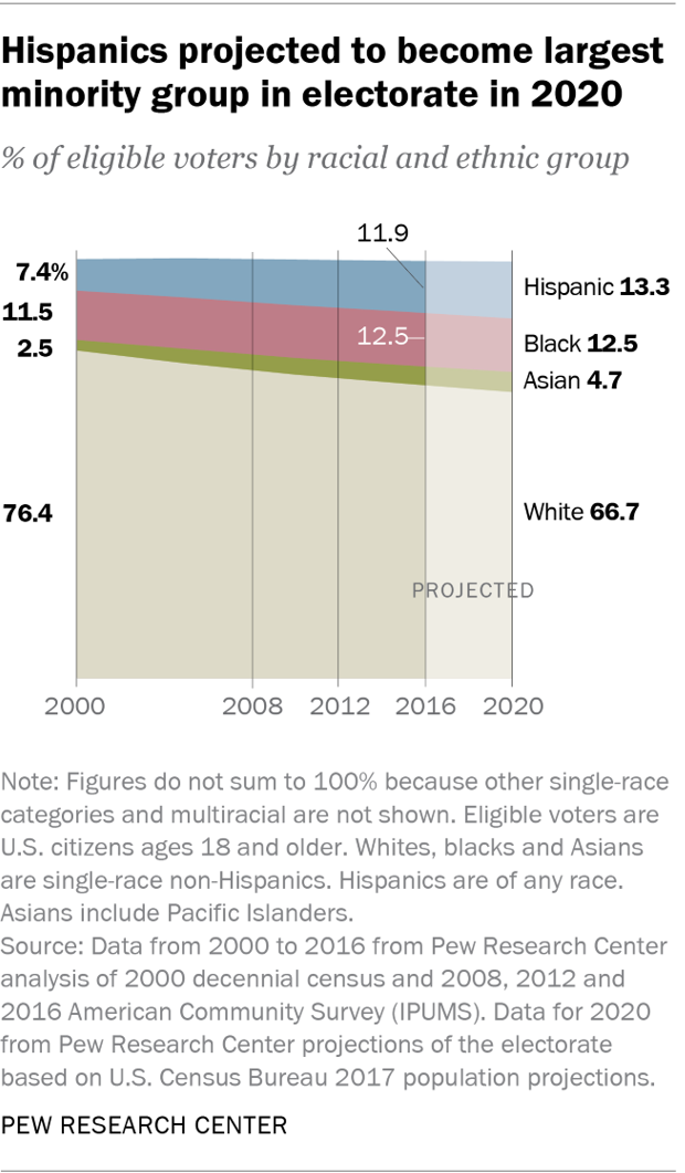Hispanics projected to become largest minority group in electorate in 2020