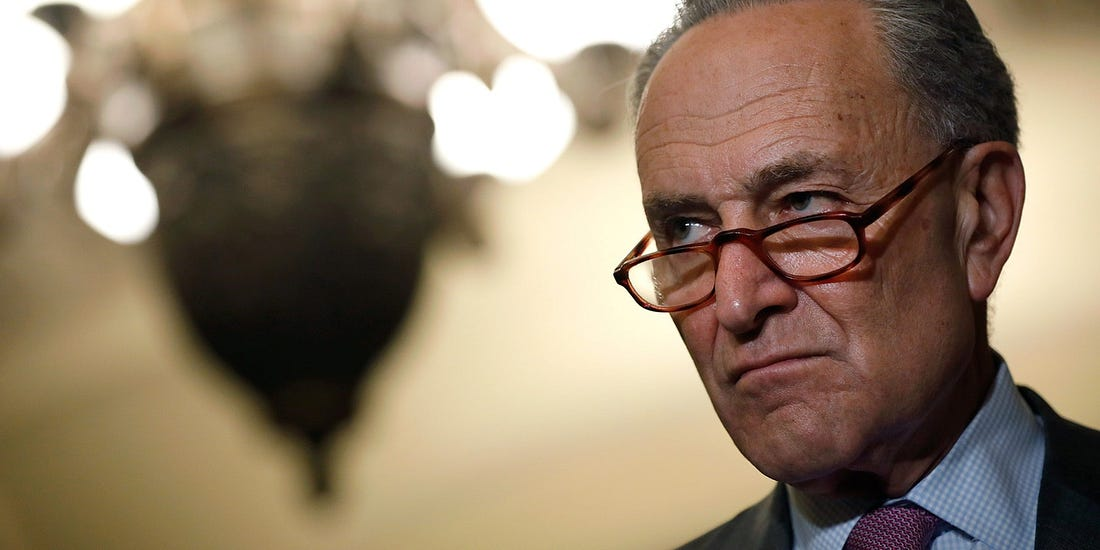 WASHINGTON, DC - JUNE 26: Senate Minority Leader Chuck Schumer speaks with reporters following the weekly policy luncheons at the U.S. Capitol June 26, 2018 in Washington, DC. Lawmakers are reacting to President Trump's immigration policy. (Photo by Aaron P. Bernstein/Getty Images)