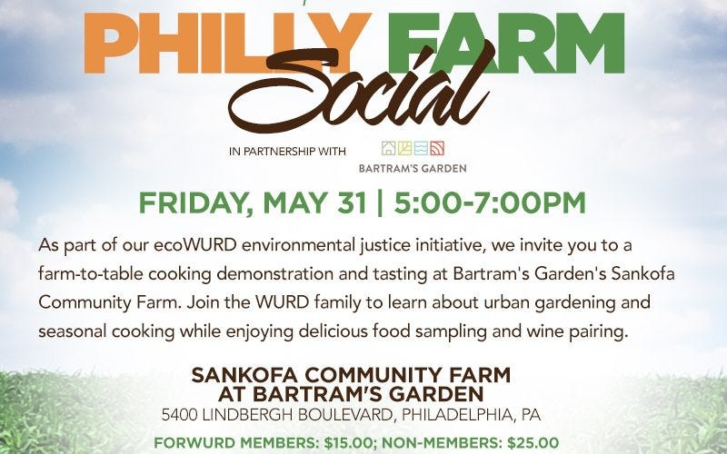 Text Graphic: EcoWURD presenets Philly Farm Social