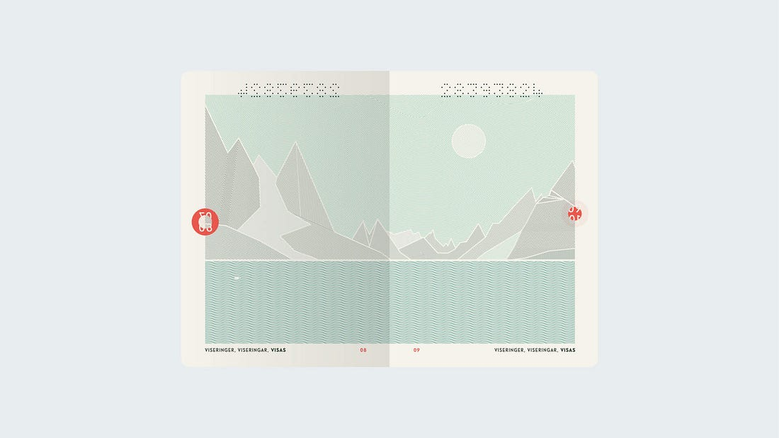 the norwegian passports by neue with a landscape of fjords