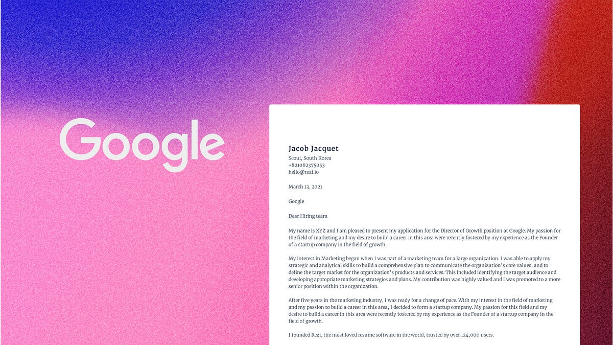 I Used Ai To Write A Cover Letter For An Application At Google Full Stack Feed