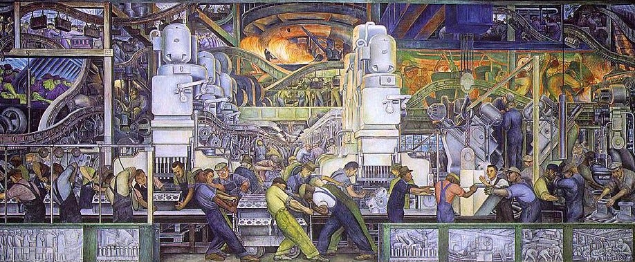 Fresco, by Diego Rivera, of the auto industry in Detroit, circa 1932. The mural is on the north wall in the atrium of the Detroit Institute of Art