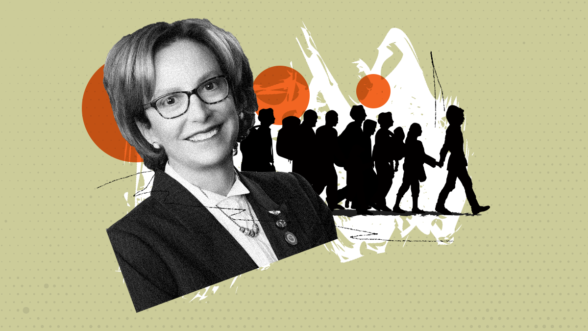 Photo illustration showing Wendy Rogers in front of silhouttes of a group of migrants.