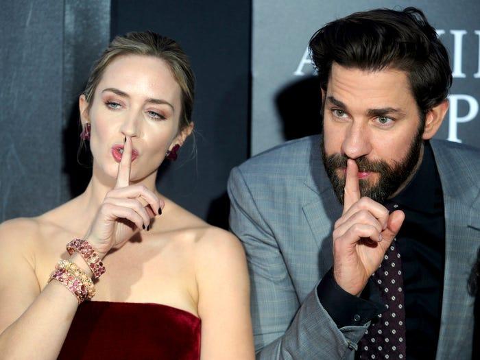Emily Blunt and John Krasinski A Quiet Place movie premiere AP