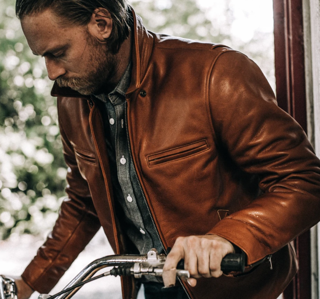 the taylor stitch moto jacket in whiskey steerhide colorway