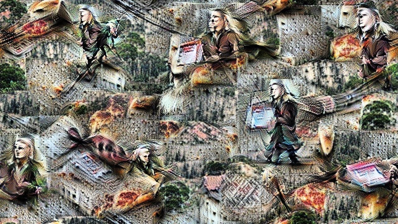 Several figures with long blond hair and dressed in green, striding in various directions across a vague landscape. Pizza boxes and slices float everywhere.