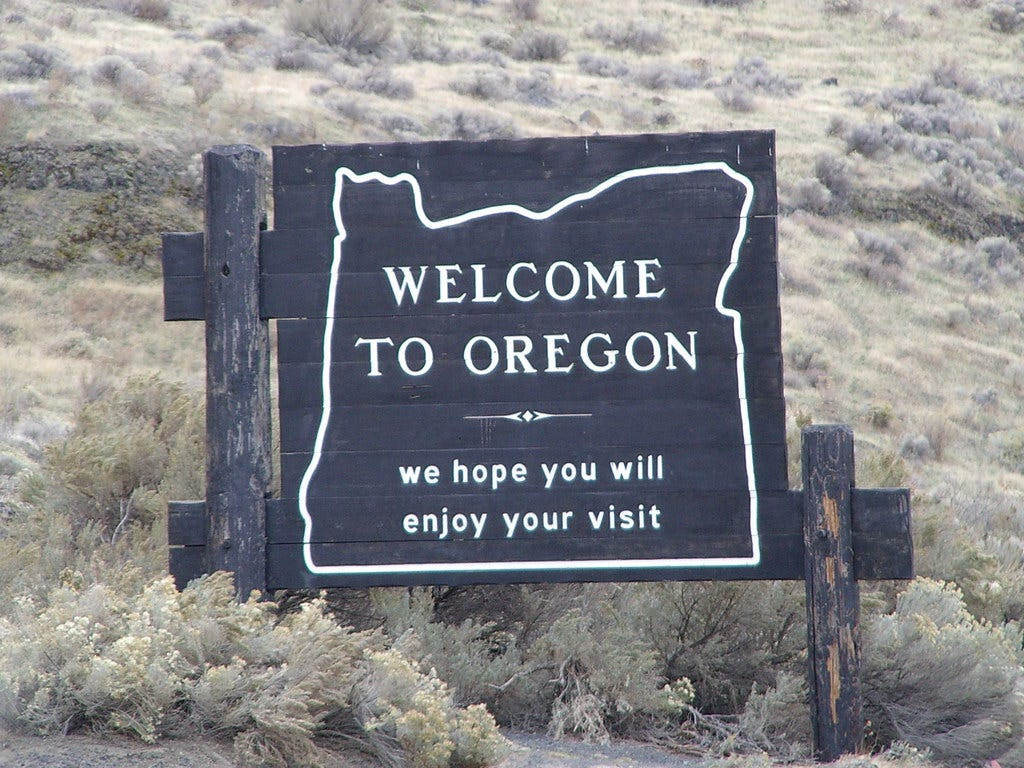 Welcome to Oregon sign - west of Port Kelley , Wa. 11-05
