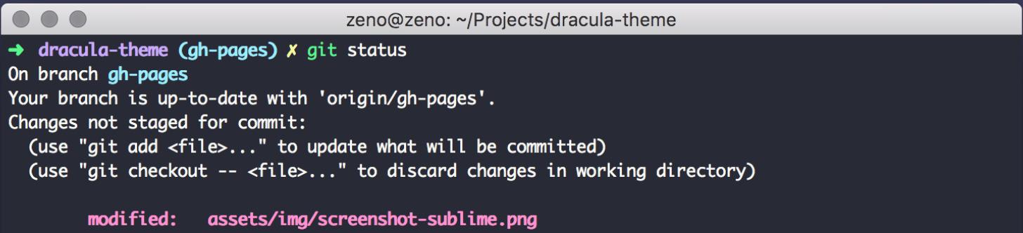 Dracula Theme command line example