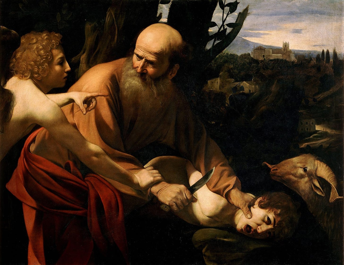 Renaissance painting of the sacrifice of Isaac. Abraham holds Isaac down, has a knife, the angel points at the ram. Lots of lights and darks. It's beautiful.