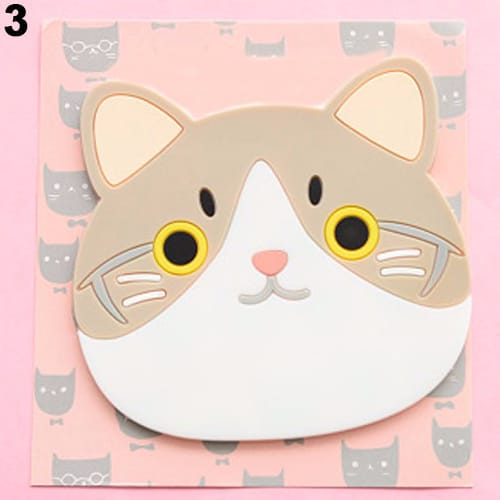 Cute Silicone Cat Dining Table Placemat Coaster Kitchen Accessories Mat Cup Bar Mug Cartoon Animal Drink Pads