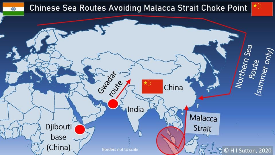 Map showing sea routes to China with Malacca Strait highlighted
