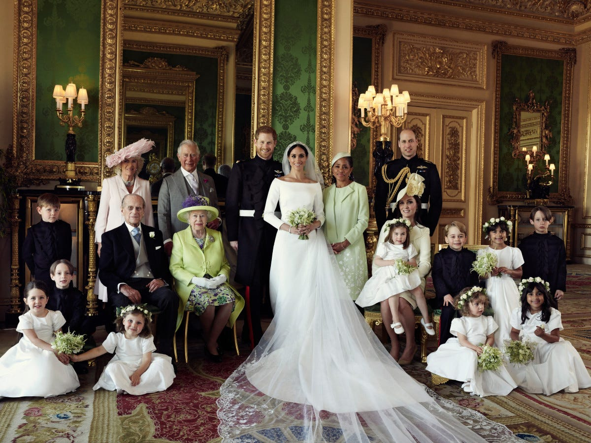 A British royal family portrait after the wedding of American actress Meghan Markle and Prince Harry.