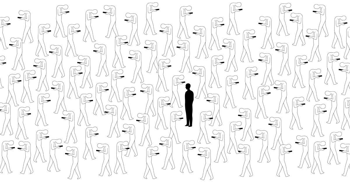 an illustration showing a person, looking up, surrounded by a crowd of people all looking down at their phones