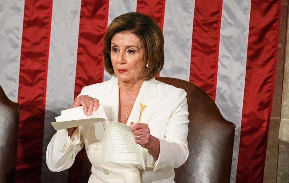 Nancy Pelosi Rips The State Of The Union Speech And The Response ...