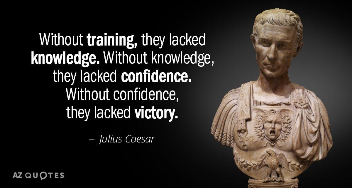 Julius Caesar quote: Without training, they lacked knowledge. Without  knowledge, they lacked confidence. Without confidence, … | Caesar quotes,  Roman quotes, Quotes