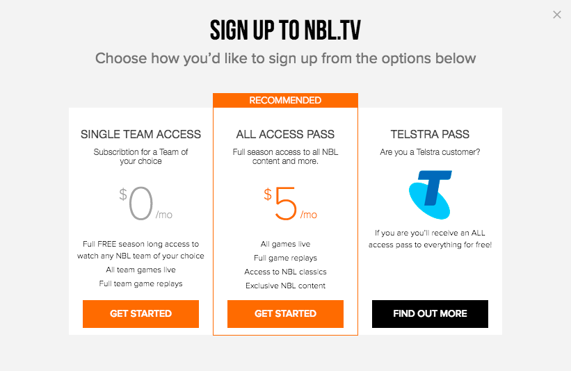 NBL TV signup options