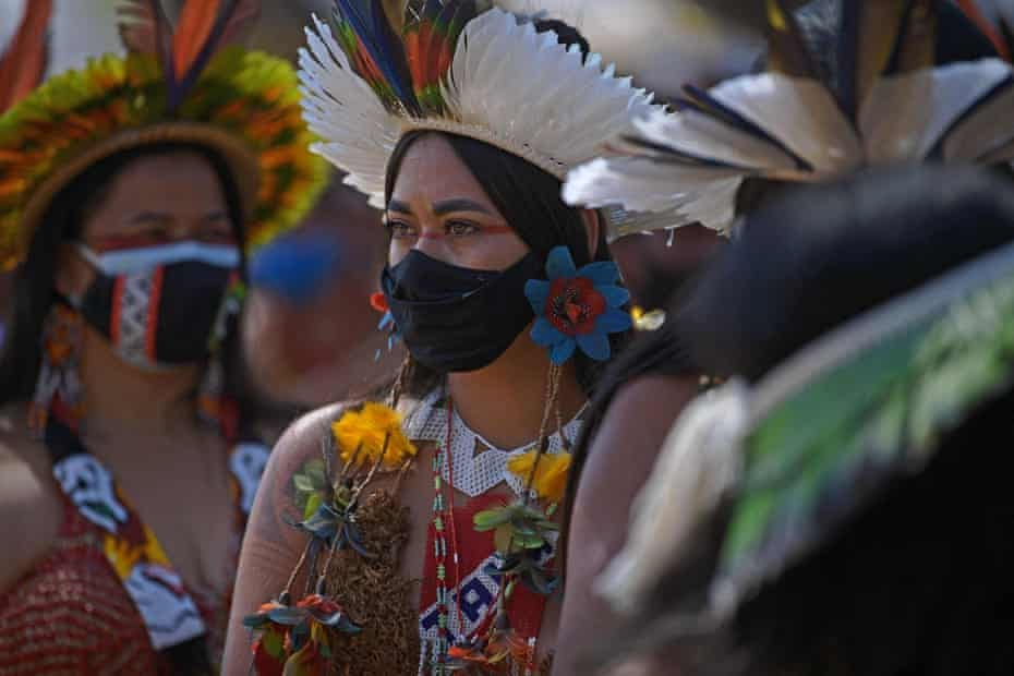 An indigenous woman from the Pataxo tribe is seen during a demonstration for the demarcation of indigenous land in Brasília on Thursday.