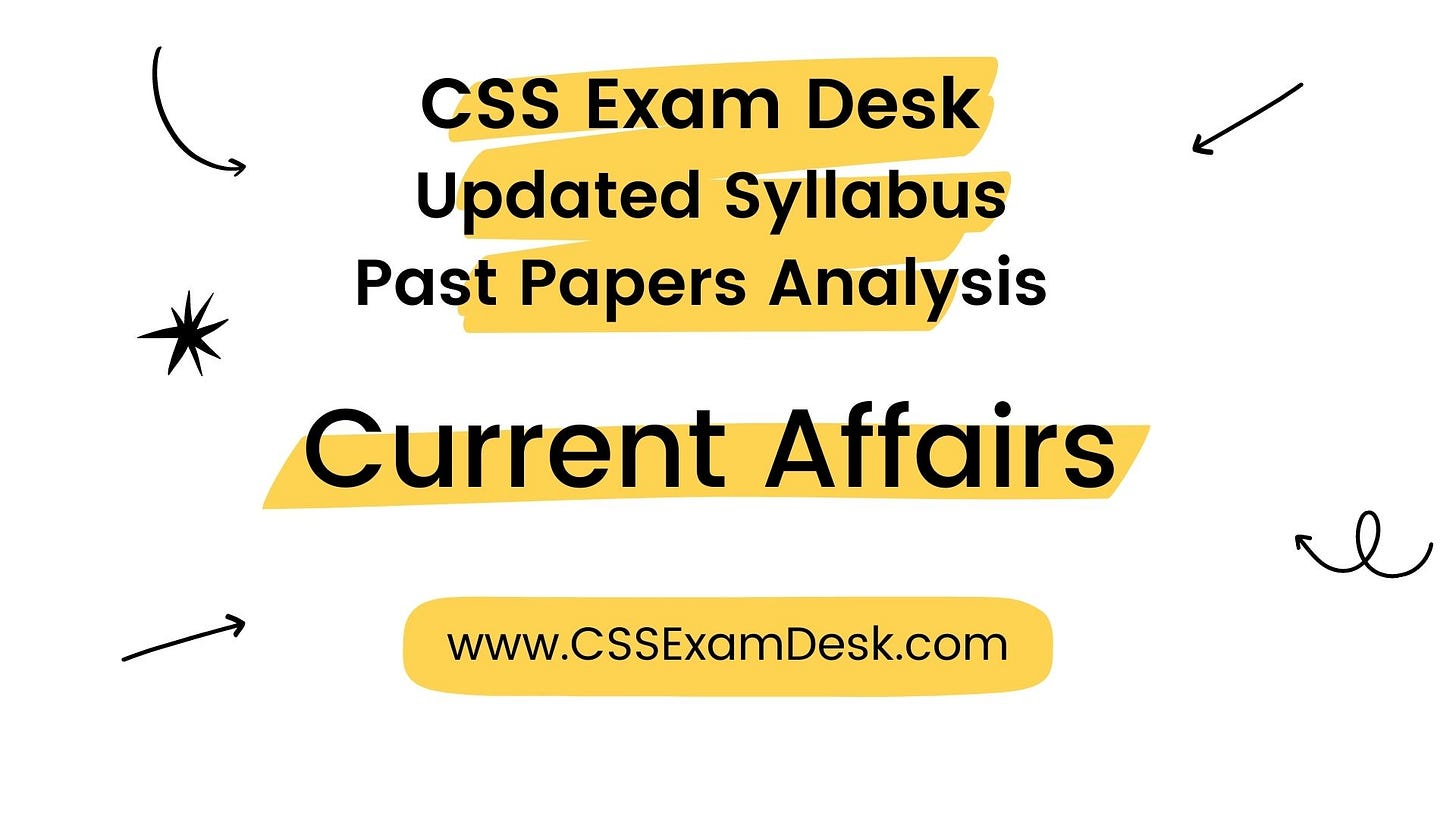 Current Affairs Syllabus for CSS 2022