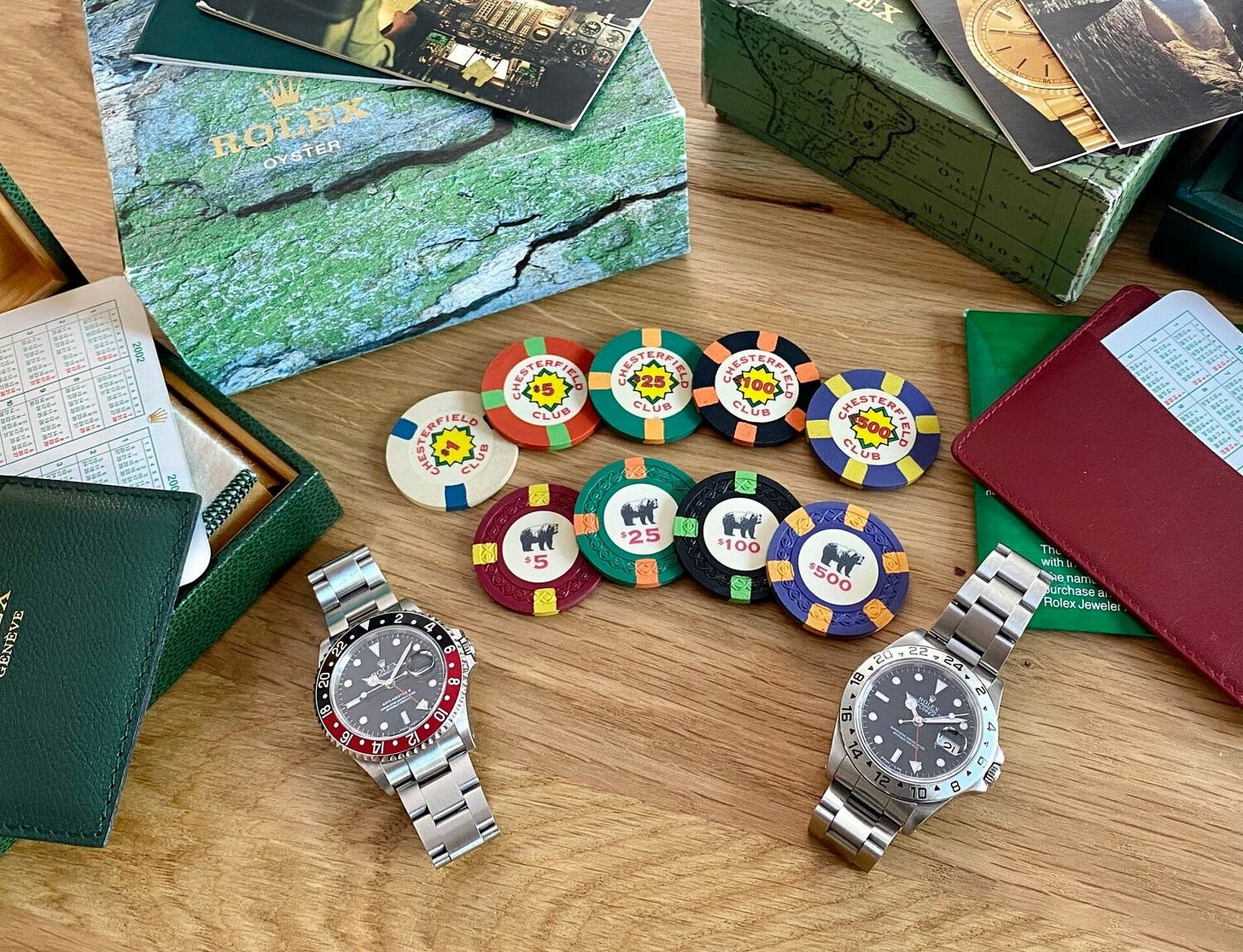 """Jesse's GMT-Master II """"Coke"""" ref. 16710, with his Rolex 16570 and poker chips used in the movie  Rounders  