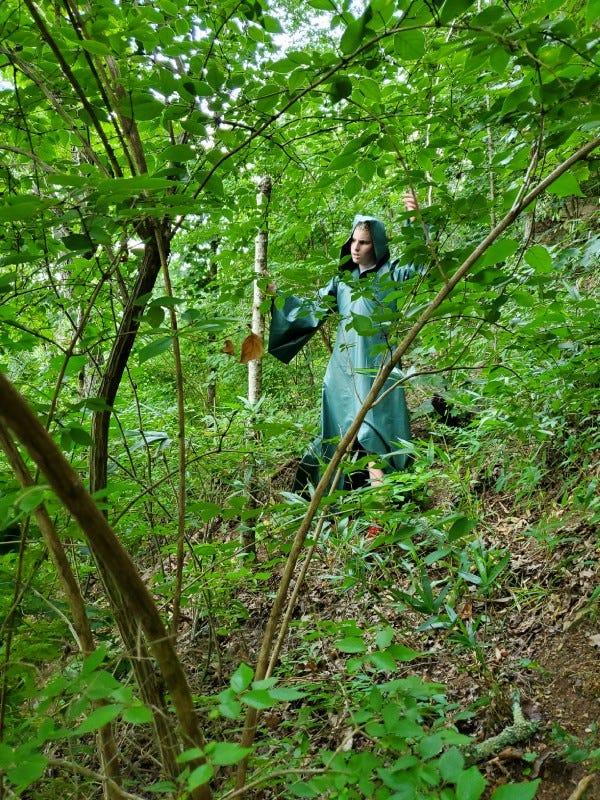 Ashton braving the natural world